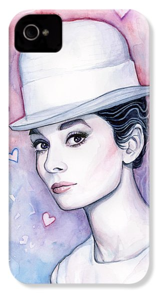 Audrey Hepburn Fashion Watercolor IPhone 4 / 4s Case by Olga Shvartsur