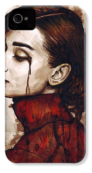 Audrey Hepburn - Quiet Sadness IPhone 4 / 4s Case by Olga Shvartsur