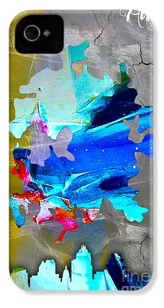 Austin Map And Skyline Watercolor IPhone 4 / 4s Case by Marvin Blaine