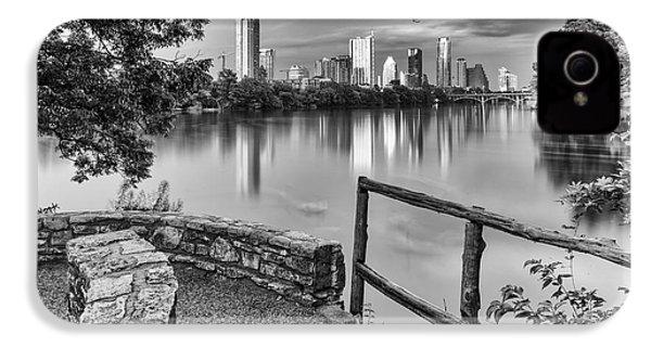 Austin Texas Skyline Lou Neff Point In Black And White IPhone 4 / 4s Case by Silvio Ligutti