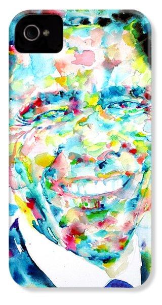 Barack Obama - Watercolor Portrait IPhone 4 / 4s Case by Fabrizio Cassetta