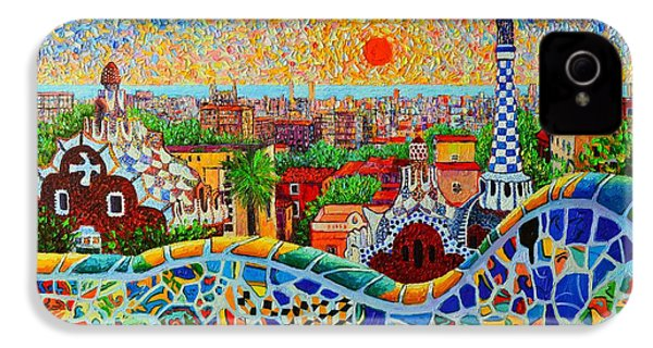Barcelona View At Sunrise - Park Guell  Of Gaudi IPhone 4 / 4s Case by Ana Maria Edulescu