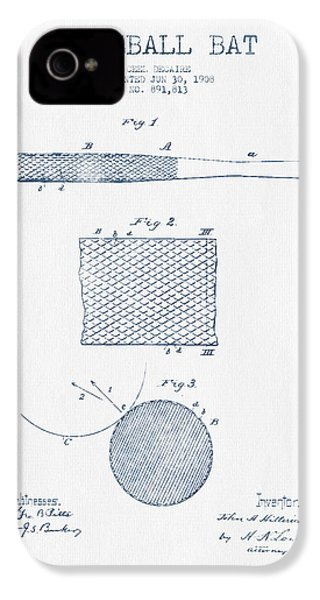Baseball Bat Patent Drawing From 1904 - Blue Ink IPhone 4 / 4s Case by Aged Pixel