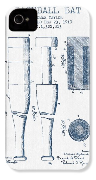 Baseball Bat Patent From 1919 - Blue Ink IPhone 4 / 4s Case by Aged Pixel