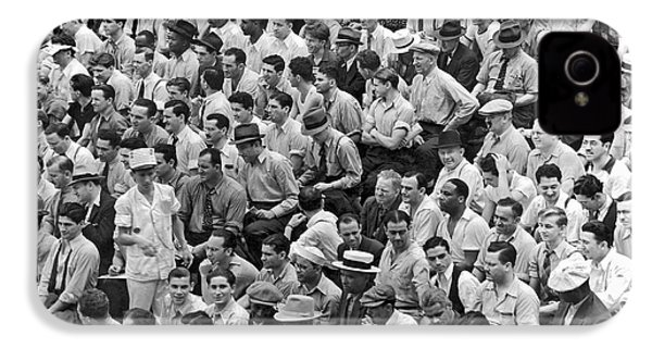 Baseball Fans In The Bleachers At Yankee Stadium. IPhone 4 / 4s Case by Underwood Archives