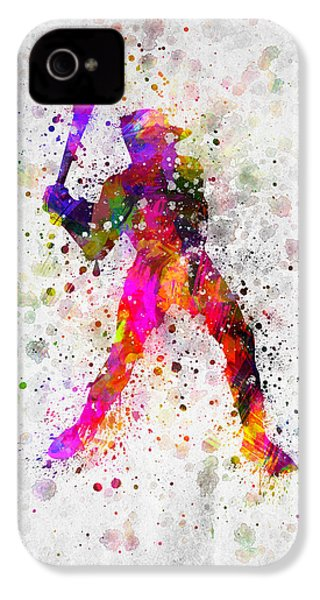 Baseball Player - Holding Baseball Bat IPhone 4 / 4s Case by Aged Pixel