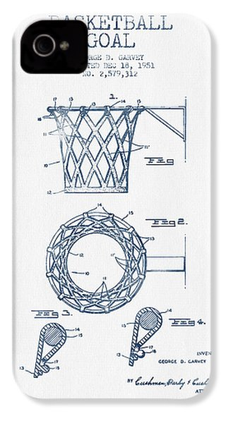 Basketball Goal Patent From 1951 - Blue Ink IPhone 4 / 4s Case by Aged Pixel