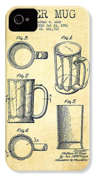 Beer Mug Patent Drawing From 1951 - Vintage IPhone 4 / 4s Case by Aged Pixel