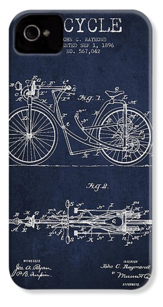 Bicycle Patent Drawing From 1896 - Navy Blue IPhone 4 / 4s Case by Aged Pixel