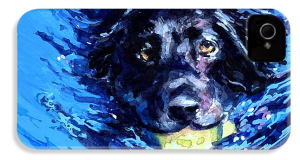 Black Lab  Blue Wake IPhone 4 / 4s Case by Molly Poole
