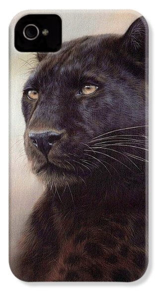 Black Leopard Painting IPhone 4 / 4s Case by Rachel Stribbling