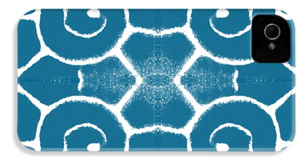 Blue And White Wave Tile- Abstract Art IPhone 4 / 4s Case by Linda Woods