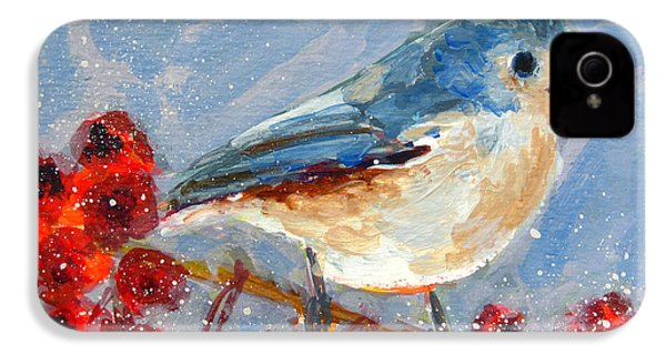 Blue Bird In Winter - Tuft Titmouse Modern Impressionist Art IPhone 4 / 4s Case by Patricia Awapara