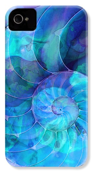 Blue Nautilus Shell By Sharon Cummings IPhone 4 / 4s Case by Sharon Cummings