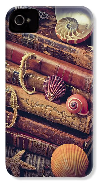 Books And Sea Shells IPhone 4 / 4s Case by Garry Gay