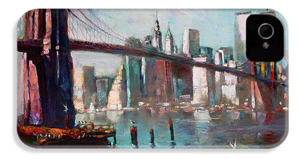 Brooklyn Bridge And Twin Towers IPhone 4 / 4s Case by Ylli Haruni
