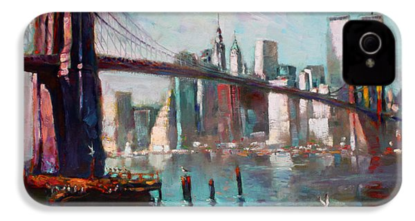 Brooklyn Bridge And Twin Towers IPhone 4 / 4s Case by Ylli Haruni