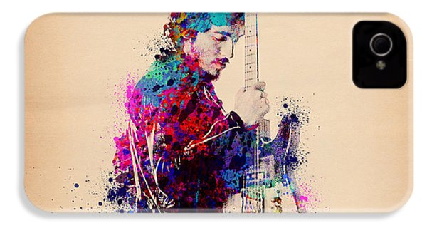 Bruce Springsteen Splats And Guitar IPhone 4 / 4s Case by Bekim Art
