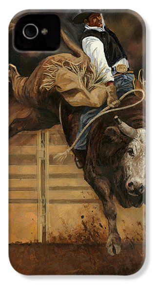 Bull Riding 1 IPhone 4 / 4s Case by Don  Langeneckert