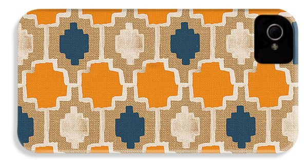 Burlap Blue And Orange Design IPhone 4 / 4s Case by Linda Woods