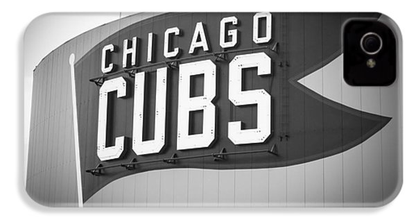 Chicago Cubs Wrigley Field Sign Black And White Picture IPhone 4 / 4s Case by Paul Velgos