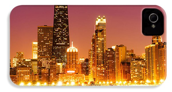 Chicago Night Skyline With John Hancock Building IPhone 4 / 4s Case by Paul Velgos