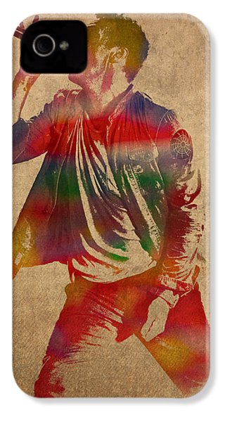 Chris Martin Coldplay Watercolor Portrait On Worn Distressed Canvas IPhone 4 / 4s Case by Design Turnpike