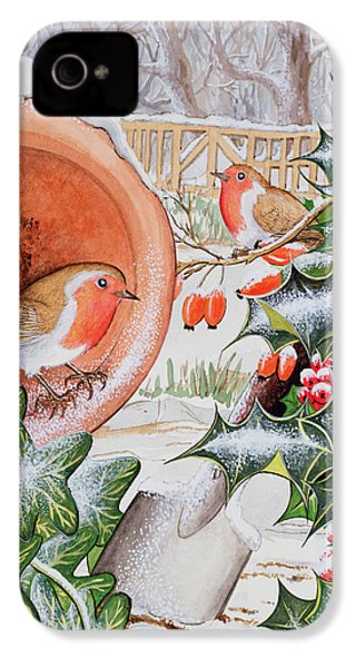 Christmas Robins IPhone 4 / 4s Case by Tony Todd