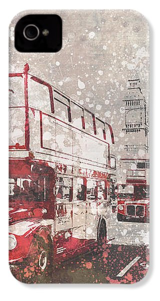 City-art London Red Buses II IPhone 4 / 4s Case by Melanie Viola