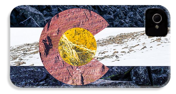 Colorado State Flag With Mountain Textures IPhone 4 / 4s Case by Aaron Spong