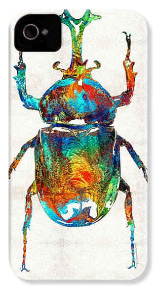Colorful Beetle Art - Scarab Beauty - By Sharon Cummings IPhone 4 / 4s Case by Sharon Cummings