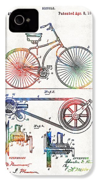 Colorful Bike Art - Vintage Patent - By Sharon Cummings IPhone 4 / 4s Case by Sharon Cummings