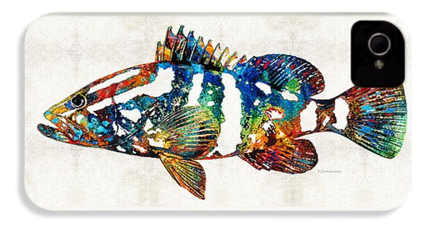 Colorful Grouper 2 Art Fish By Sharon Cummings IPhone 4 / 4s Case by Sharon Cummings