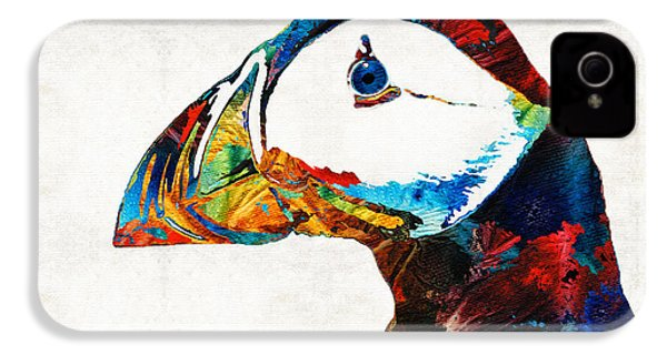 Colorful Puffin Art By Sharon Cummings IPhone 4 / 4s Case by Sharon Cummings