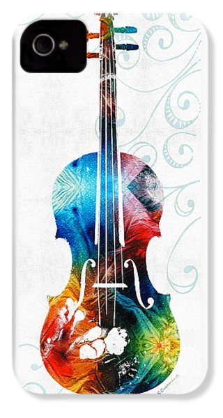 Colorful Violin Art By Sharon Cummings IPhone 4 / 4s Case by Sharon Cummings
