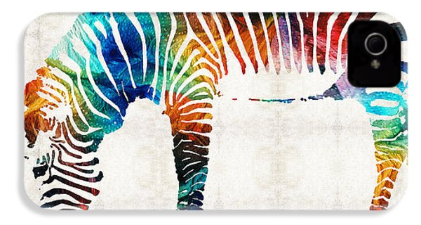 Colorful Zebra Art By Sharon Cummings IPhone 4 / 4s Case by Sharon Cummings