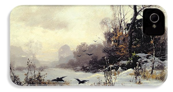 Crows In A Winter Landscape IPhone 4 / 4s Case by Karl Kustner