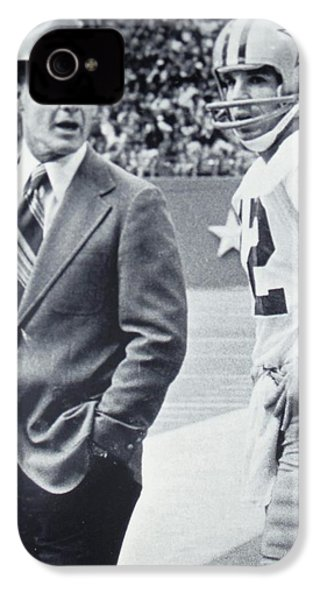 Dallas Cowboys Coach Tom Landry And Quarterback #12 Roger Staubach IPhone 4 / 4s Case by Donna Wilson