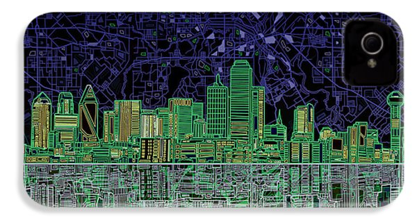 Dallas Skyline Abstract 4 IPhone 4 / 4s Case by Bekim Art