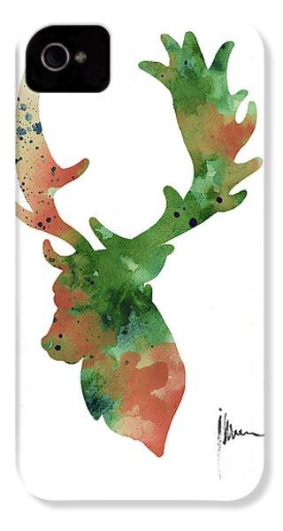 Deer Antlers Silhouette Watercolor Art Print Painting IPhone 4 / 4s Case by Joanna Szmerdt