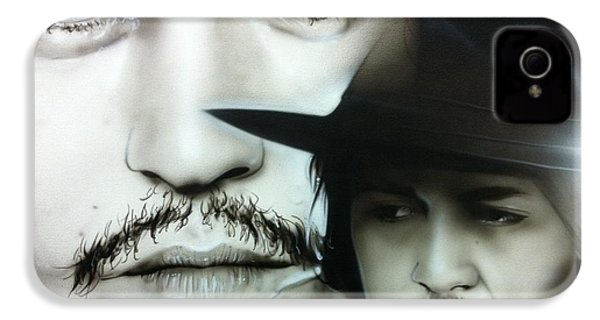 Johnny Depp - ' Depp ' IPhone 4 / 4s Case by Christian Chapman Art