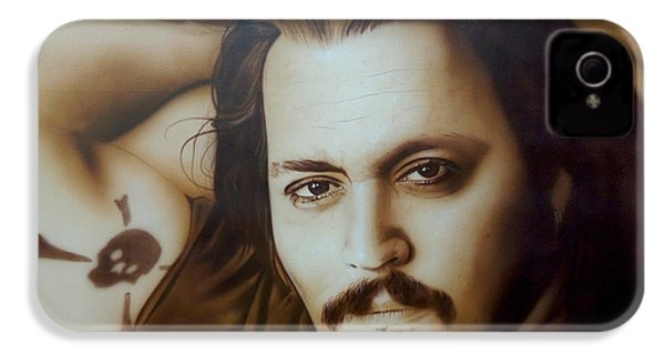 Johnny Depp - ' Depp II ' IPhone 4 / 4s Case by Christian Chapman Art