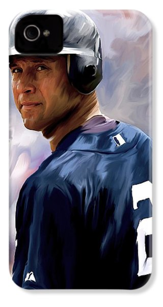Derek Jeter  IPhone 4 / 4s Case by Iconic Images Art Gallery David Pucciarelli
