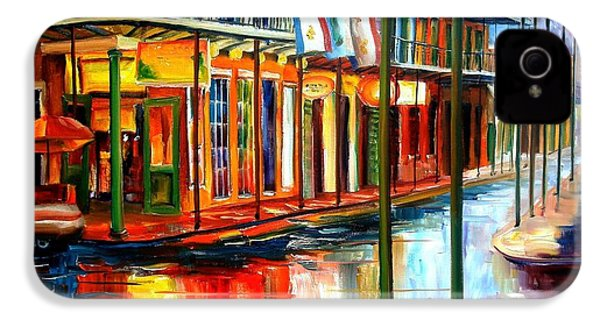 Downpour On Bourbon Street IPhone 4 / 4s Case by Diane Millsap