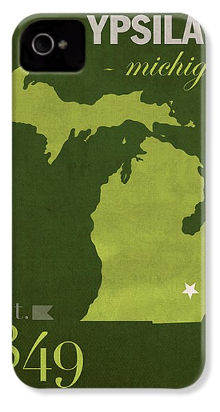 Eastern Michigan University Eagles Ypsilanti College Town State Map Poster Series No 035 IPhone 4 / 4s Case by Design Turnpike