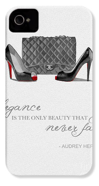 Elegance Never Fades Black And White IPhone 4 / 4s Case by Rebecca Jenkins