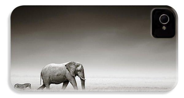 Elephant With Zebra IPhone 4 / 4s Case by Johan Swanepoel