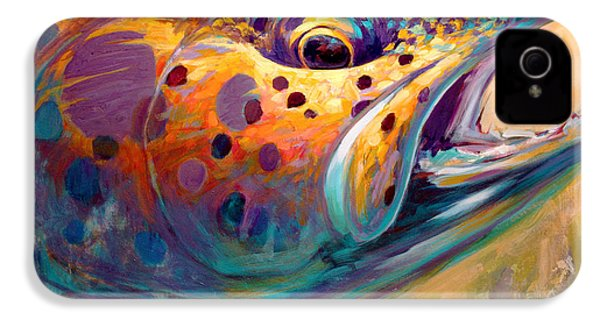 Fire From Water - Rainbow Trout Contemporary Art IPhone 4 / 4s Case by Savlen Art