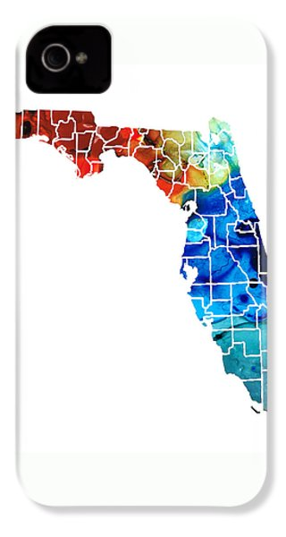 Florida - Map By Counties Sharon Cummings Art IPhone 4 / 4s Case by Sharon Cummings