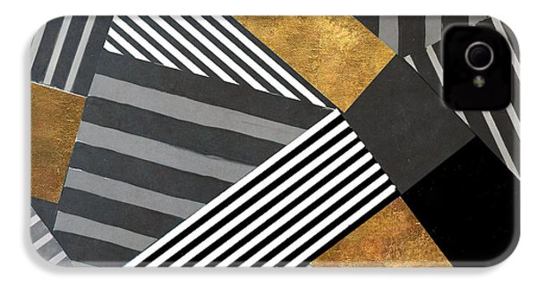 Geo Stripes In Gold And Black II IPhone 4 / 4s Case by Lanie Loreth